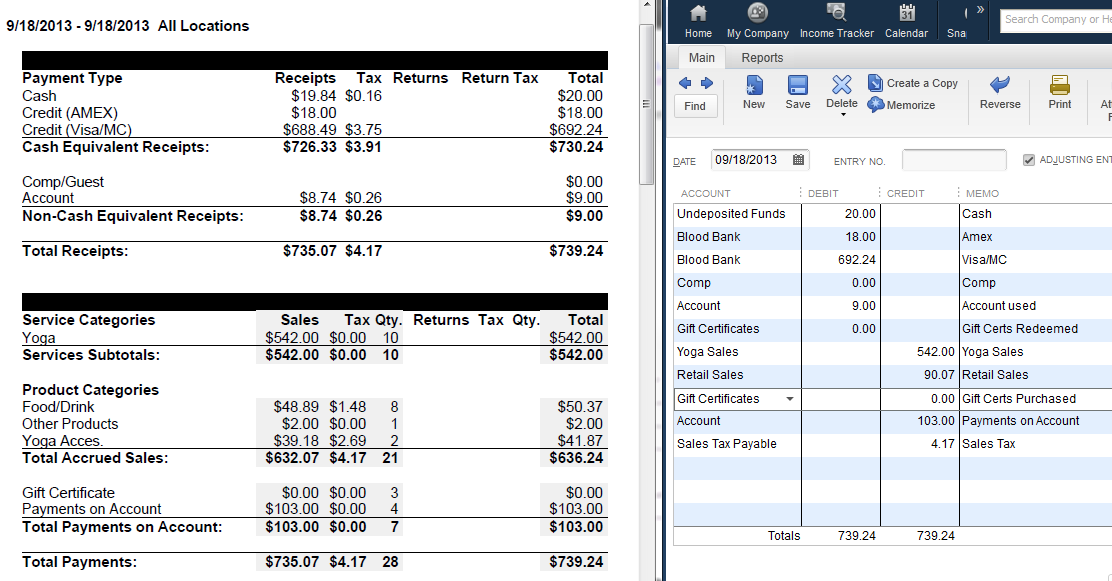 Mindbody and QuickBooks daily sales journal entry