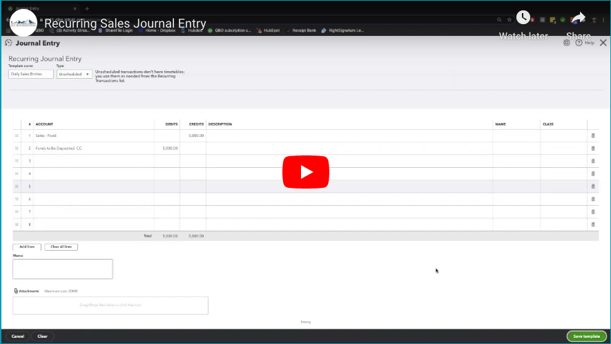 QBO Video Tip: How to Create a Recurring Sales Journal Entry